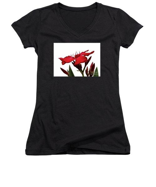 Oleander Blood-red Velvet 3 Women's V-Neck