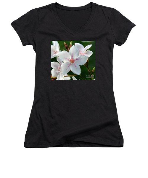 Oleander Harriet Newding  2 Women's V-Neck T-Shirt (Junior Cut) by Wilhelm Hufnagl