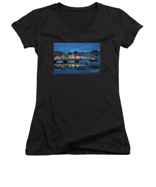 Women's V-Neck T-Shirt (Junior Cut) featuring the photograph Padstow Evening by Brian Jannsen