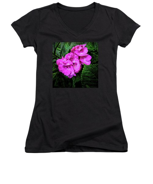 Painted Hydrangea Women's V-Neck (Athletic Fit)
