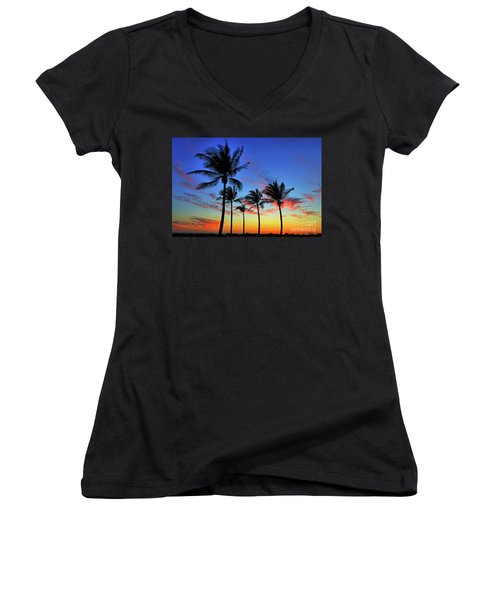 Women's V-Neck T-Shirt (Junior Cut) featuring the photograph Palm Tree Skies by Scott Mahon