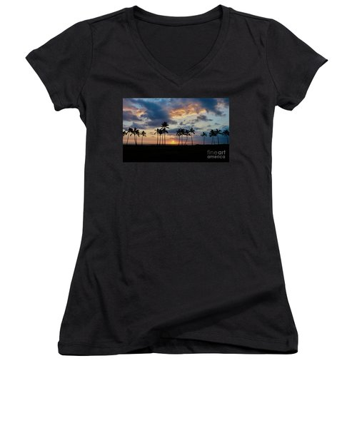 Palms At Sunset Women's V-Neck (Athletic Fit)