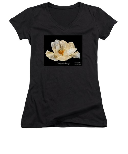 Women's V-Neck T-Shirt (Junior Cut) featuring the photograph Paper Peony by Diane E Berry