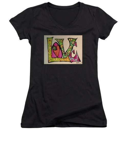 Peace And Love Women's V-Neck T-Shirt (Junior Cut) by Claudia Cole Meek