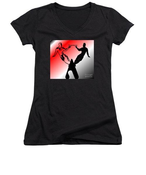 Perpendicular Women's V-Neck T-Shirt (Junior Cut) by Belinda Threeths