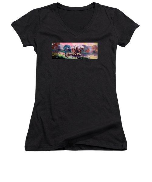 Ploughing  Women's V-Neck T-Shirt