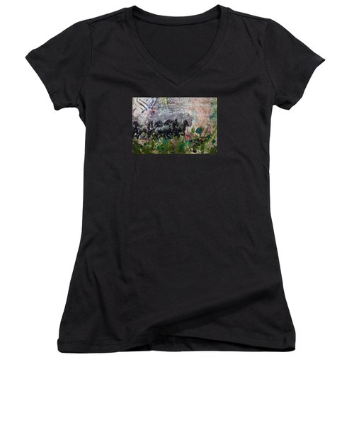 Women's V-Neck T-Shirt (Junior Cut) featuring the painting Ponies by Ron Richard Baviello