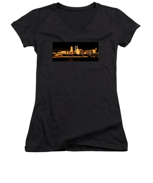 Women's V-Neck T-Shirt (Junior Cut) featuring the mixed media Portland Oregon Skyline  by Aaron Berg