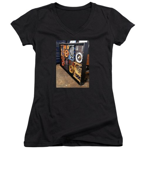 Women's V-Neck T-Shirt (Junior Cut) featuring the painting Prodigy  by James Lanigan Thompson MFA