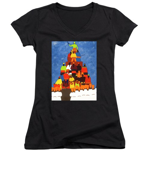 Pyramid Of African Drummers Women's V-Neck (Athletic Fit)