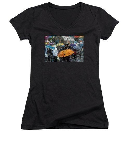 Raining Women's V-Neck T-Shirt (Junior Cut) by Vladimir Kholostykh