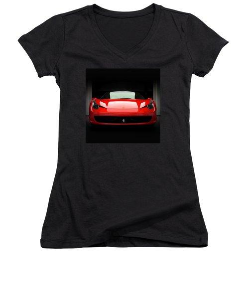 Red Ferrari 458 Women's V-Neck T-Shirt (Junior Cut) by Matt Malloy