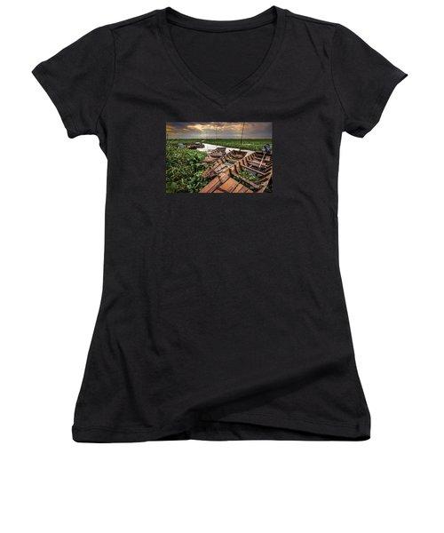 Women's V-Neck T-Shirt (Junior Cut) featuring the photograph Rest Of Boat by Arik S Mintorogo