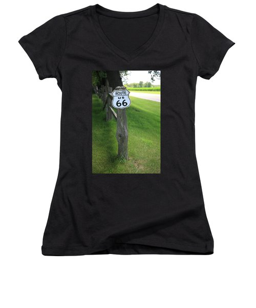 Women's V-Neck T-Shirt (Junior Cut) featuring the photograph Route 66 Shield And Fence Post by Frank Romeo