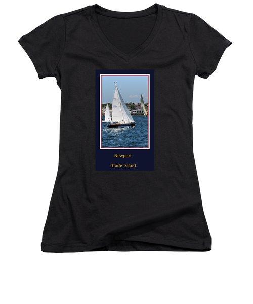 Sailing Newport Women's V-Neck T-Shirt (Junior Cut)