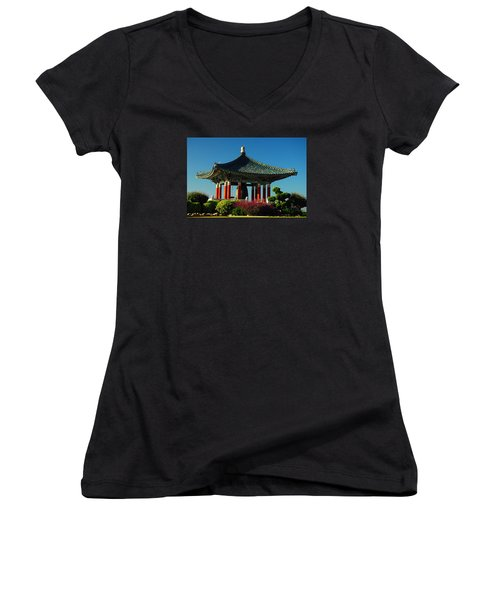 Women's V-Neck T-Shirt (Junior Cut) featuring the photograph San Pedro Korean Peace Bell by James Kirkikis