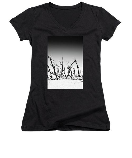 Women's V-Neck T-Shirt (Junior Cut) featuring the photograph Sand Dune With Dead Trees by Chevy Fleet