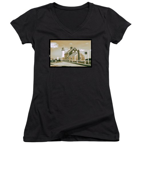 Women's V-Neck T-Shirt (Junior Cut) featuring the photograph Scituate Lighthouse In Scituate, Ma by Peter Ciro