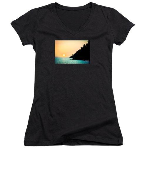 Seascape Sunrise Sea And Sun Women's V-Neck
