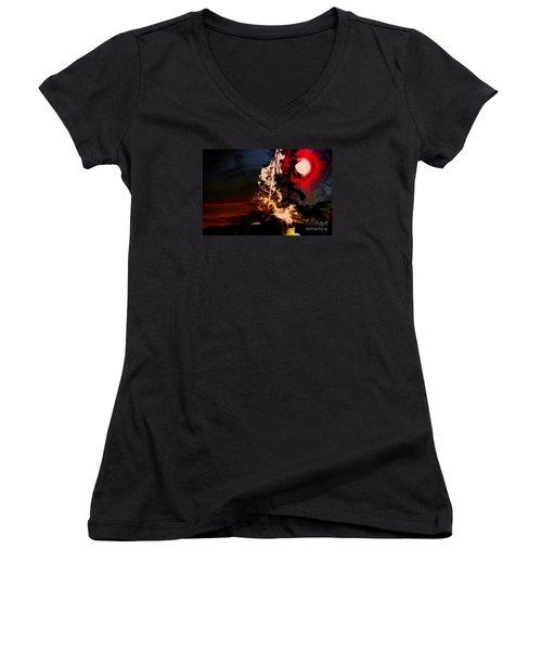 Sechelt Tree Women's V-Neck T-Shirt (Junior Cut) by Elaine Hunter