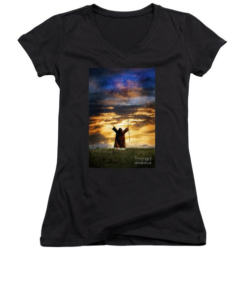 Shepherd Arms Up In Praise Women's V-Neck T-Shirt