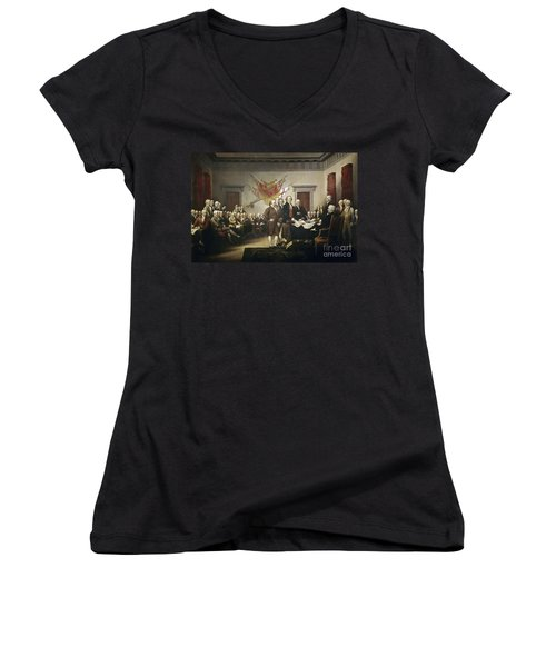 Signing The Declaration Of Independence Women's V-Neck