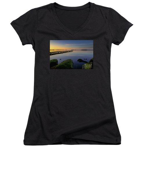 Silence Lake Women's V-Neck T-Shirt (Junior Cut) by Franziskus Pfleghart
