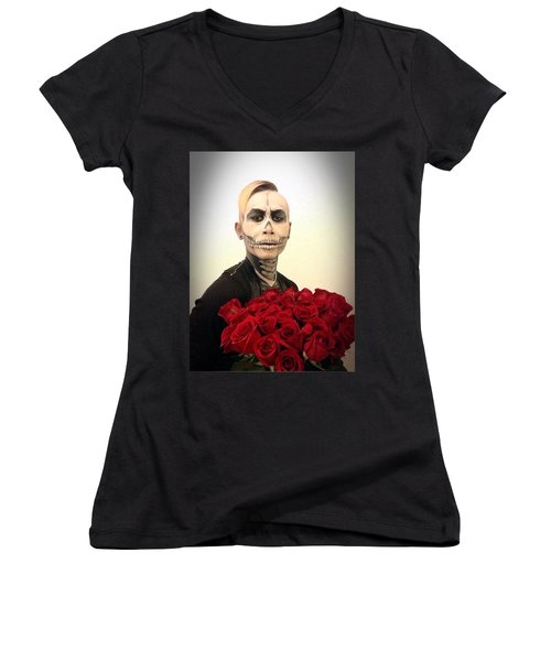 Skull Tux And Roses Women's V-Neck T-Shirt (Junior Cut) by Kent Chua