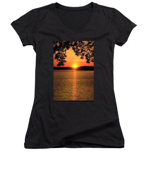 Smith Mountain Lake Silhouette Sunset Women's V-Neck