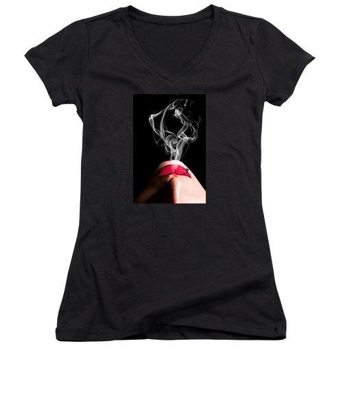 Smoke Women's V-Neck (Athletic Fit)