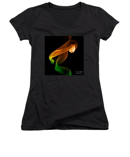 smoke XIV Women's V-Neck T-Shirt (Junior Cut) by Joerg Lingnau