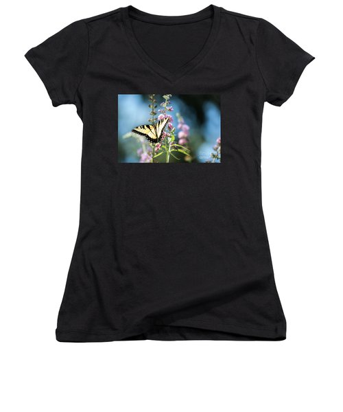 Spread Your Wings Women's V-Neck T-Shirt (Junior Cut) by Judy Wolinsky