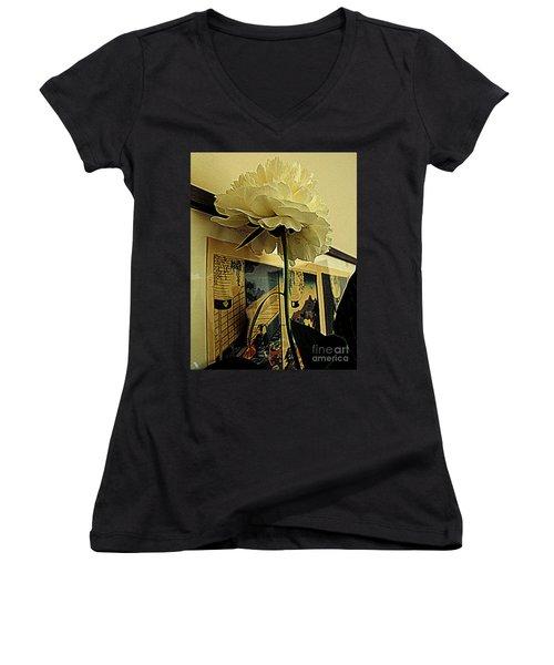 Standing Tall Women's V-Neck T-Shirt (Junior Cut) by Nancy Kane Chapman