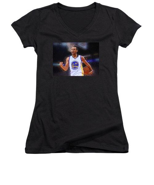 Stephen Curry Women's V-Neck T-Shirt (Junior Cut) by Semih Yurdabak