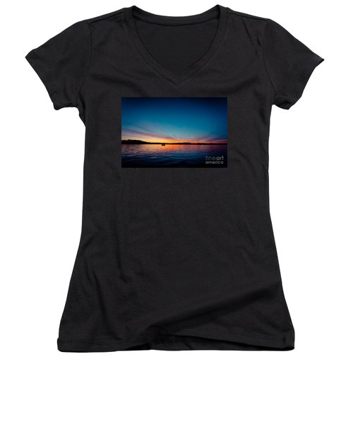 Sunrise Above Lake Water Summer Time Latvia Ezera Skanas Women's V-Neck