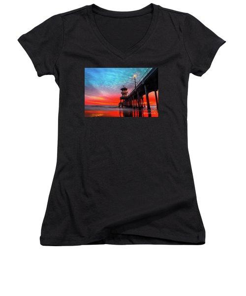 Sunset At Huntington Beach Pier Women's V-Neck (Athletic Fit)