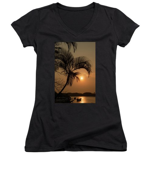 sunset Huong river Women's V-Neck