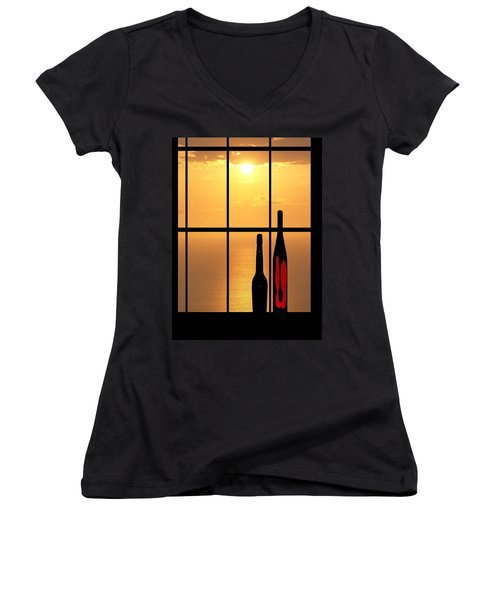 Sunset In Hawaii Women's V-Neck T-Shirt (Junior Cut) by Athala Carole Bruckner