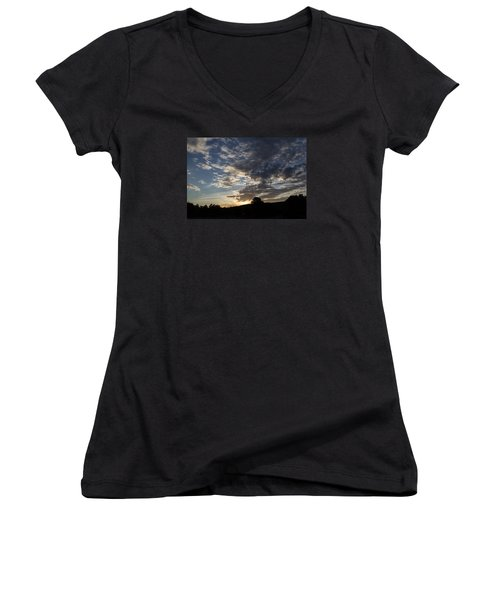 Sunset On Hunton Lane #1 Women's V-Neck T-Shirt (Junior Cut) by Carlee Ojeda