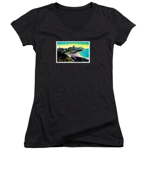 Surreal Colors Of Miami Beach Florida Women's V-Neck T-Shirt (Junior Cut) by Elaine Plesser