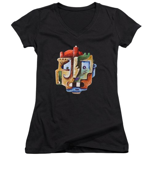 Women's V-Neck featuring the painting Surrealism Head by Sotuland Art