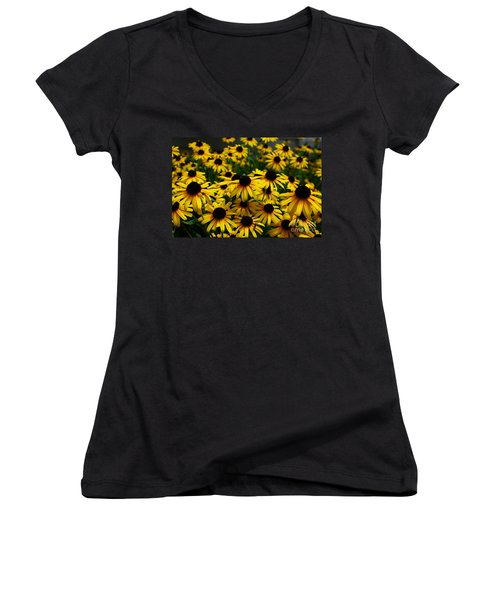 Sweet Flowers Women's V-Neck T-Shirt (Junior Cut) by John S