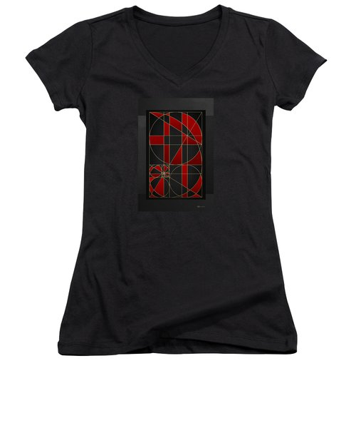 The Alchemy - Divine Proportions - Red On Black Women's V-Neck T-Shirt (Junior Cut) by Serge Averbukh