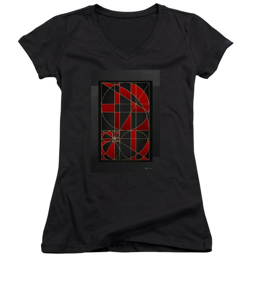 The Alchemy - Divine Proportions - Red On Black Women's V-Neck
