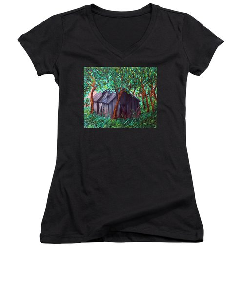 The Barn Women's V-Neck T-Shirt (Junior Cut) by Felix Concepcion