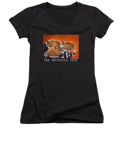 The Capybara Club Women's V-Neck T-Shirt (Junior Cut) by Will Bullas
