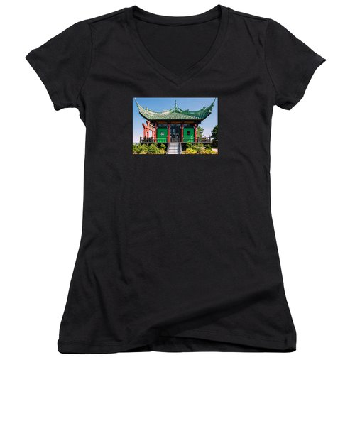 Women's V-Neck T-Shirt (Junior Cut) featuring the photograph The Chinese Tea House by Sabine Edrissi