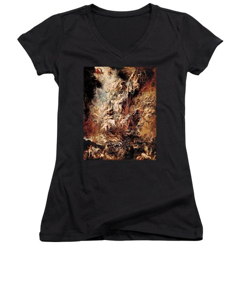 Women's V-Neck T-Shirt (Junior Cut) featuring the painting The Fall Of The Damned by Peter Paul Rubens