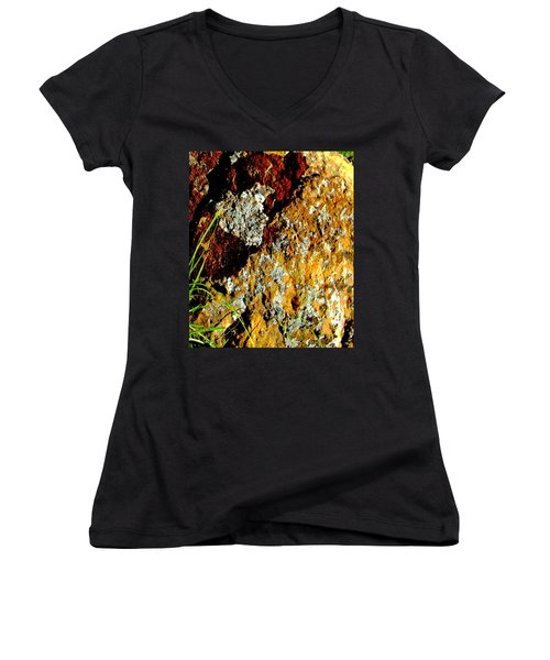 Women's V-Neck T-Shirt (Junior Cut) featuring the photograph The Rock by Lenore Senior
