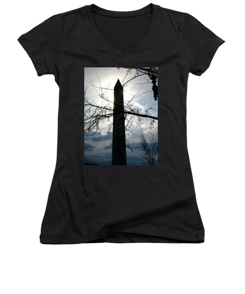 The Washington Monument  Women's V-Neck (Athletic Fit)